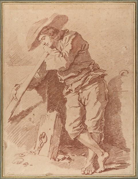 A Fisherman Leaning on an Oar, Jean Honoré Fragonard (French, Grasse 1732–1806 Paris), Red chalk