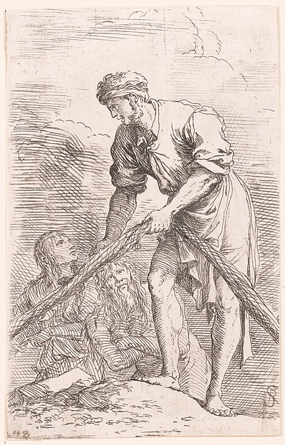A man pulling a net with two figures behind him, from the series 'Figurine', Salvator Rosa (Italian, Arenella (Naples) 1615–1673 Rome), Etching and Drypoint
