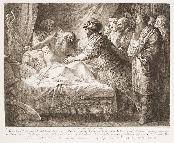 Allegory of Painting (The Death of Leonardo da Vinci), Giuseppe Cades (Italian, Rome 1750–1799 Rome), Etching