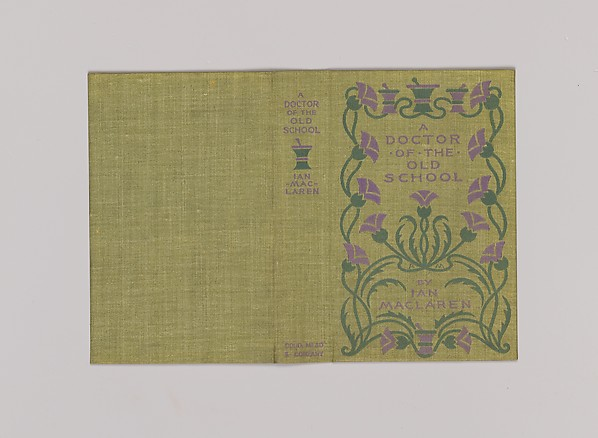 A Doctor of the Old School, Alice Cordelia Morse (American, Ohio 1863–1961), Green cloth covered boards with dark green and purple decoration