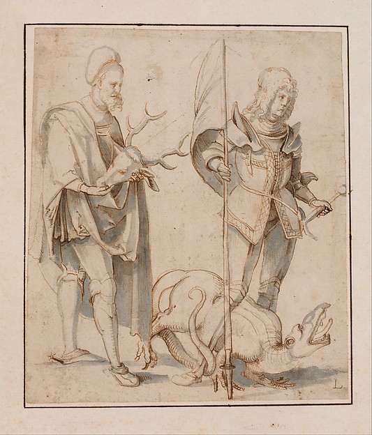 Saint Eustace and Saint George, Hans Süss von Kulmbach (German, Kulmbach ca. 1480–1522 Nuremberg), Pen and brown ink, brush and gray wash