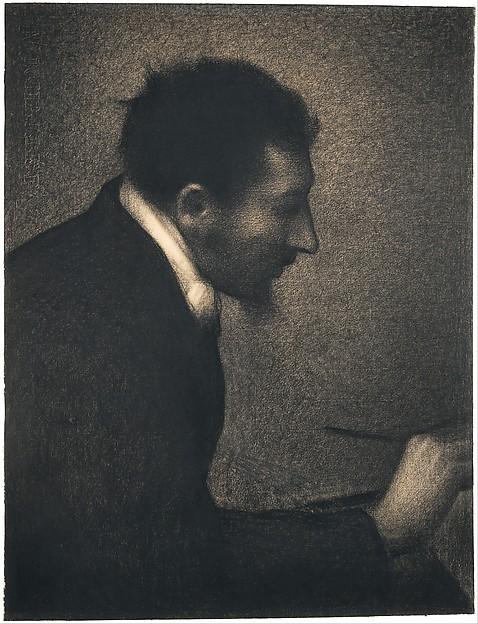 Aman-Jean (Portrait of Edmond François Aman-Jean), Georges Seurat (French, Paris 1859–1891 Paris), Conté crayon on Michallet paper