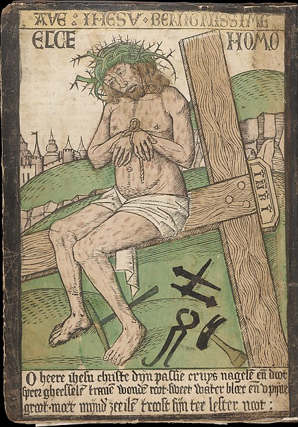 Album with Twelve Engravings of The Passion, a Woodcut of Christ as the Man of Sorrows, and a Metalcut of St. Jerome in Penitence, Israhel van Meckenem (German, Meckenem ca. 1440/45–1503 Bocholt), Engravings, two touched with gold;  woodcut, hand-colored; metalcut, hand-colored; manuscript in dark brown ink with red, and blue initials and flourishes; bound in blind-stamped leather.