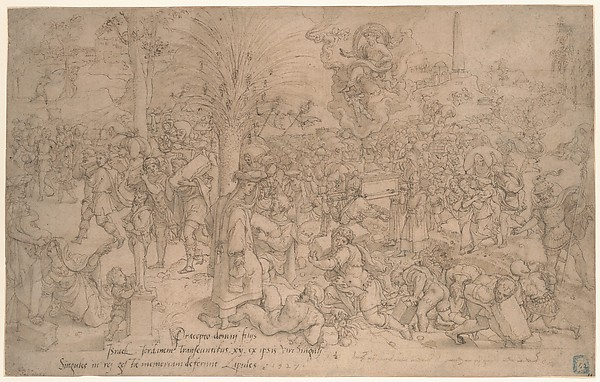 The Jews Collecting the Twelve Stones from the River Jordan, Pieter Coecke van Aelst (Netherlandish, Aelst 1502–1550 Brussels), Pen and brown ink, brush and brown ink, over black chalk, squared for transfer in black chalk