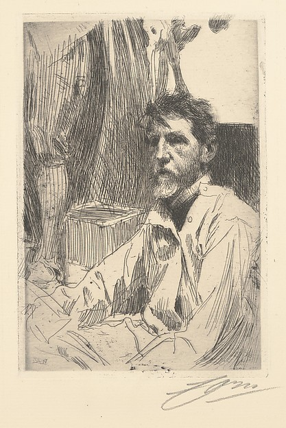 Augustus Saint Gaudens, Anders Zorn (Swedish, Mora 1860–1920 Mora), Etching, second state of two