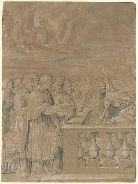 Allegory of the Triumph of Death over Church and State, Girolamo da Treviso (Italian, Treviso ca. 1498–1544 Boulogne-sur-Mer), Pen and brown ink, brush with brown and gray-blue wash, highlighted with white gouache, on brownish paper (probably blue originally).