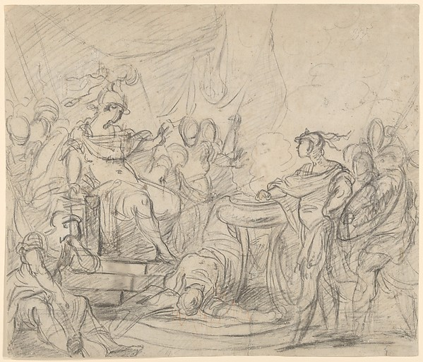 Mucius Scaevola Before King Porsenna, circle of François Boucher (French, Paris 1703–1770 Paris), Black chalk, with touches of red chalk on off-white antique laid paper