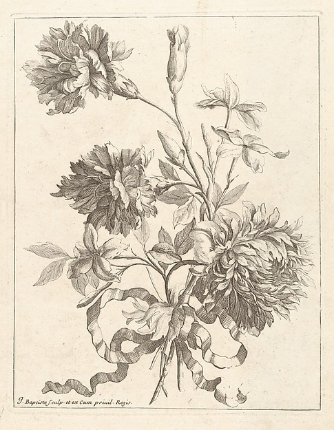 [Small Bouquets Tied With A Ribbon], Jean-Baptiste Monnoyer (French, Lille 1636–1699 London), Engraving
