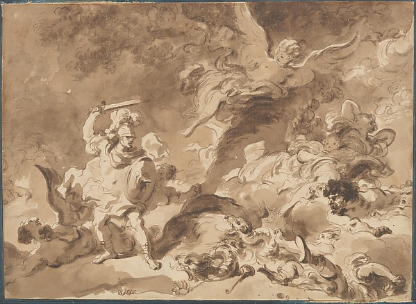 Rinaldo in the Enchanted Forest, Jean Honoré Fragonard (French, Grasse 1732–1806 Paris), Brown wash over very light black chalk underdrawing