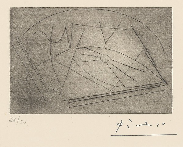 The Guitar on a Table, Pablo Picasso (Spanish, Malaga 1881–1973 Mougins, France), Etching and drypoint