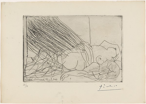 Line Art By Picasso : Pablo picasso reclining nude woman the met