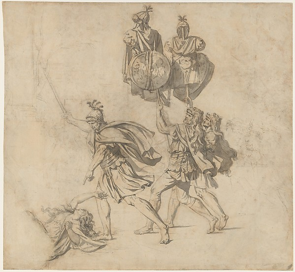 The Death of Camilla, Jacques Louis David (French, Paris 1748–1825 Brussels), Black chalk with brush and gray wash
