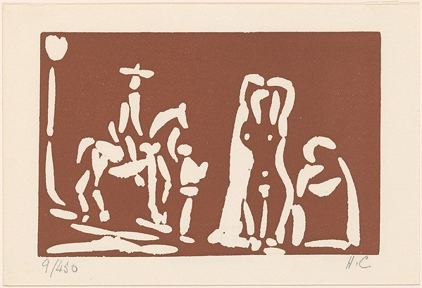 Cèlestine with a Woman, a Cavalier and His Valet, Pablo Picasso (Spanish, Malaga 1881–1973 Mougins, France), Linoleum cut