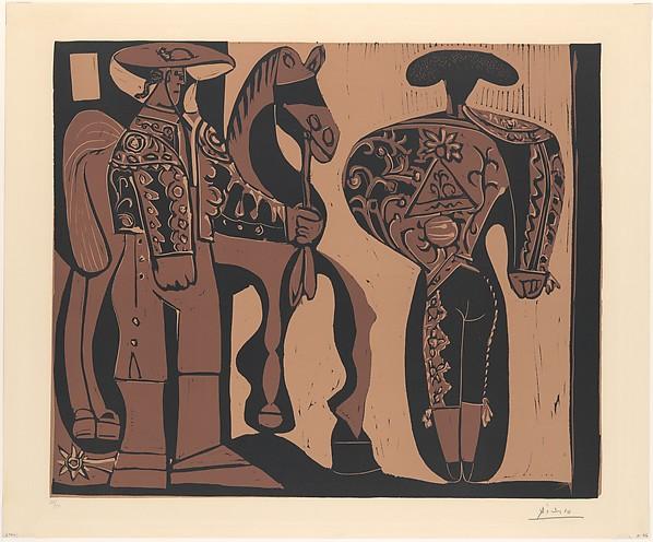 Picador and Torero Awaiting the Parade of the Quadrille, Pablo Picasso (Spanish, Malaga 1881–1973 Mougins, France), Linoleum cut
