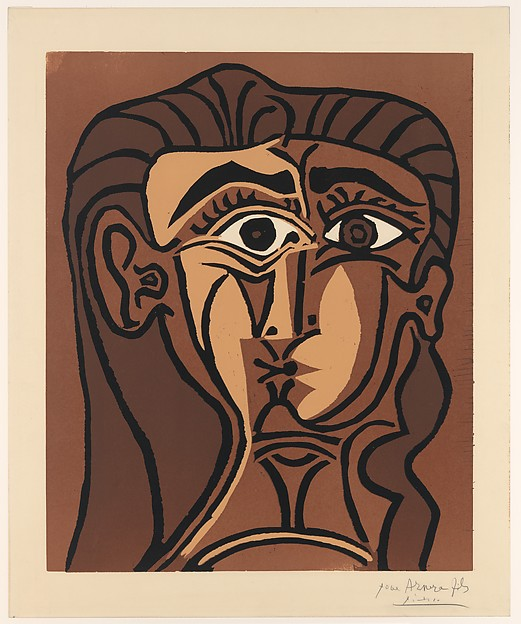 Portrait of Jacqueline Full Face II, Pablo Picasso (Spanish, Malaga 1881–1973 Mougins, France), Linoleum cut