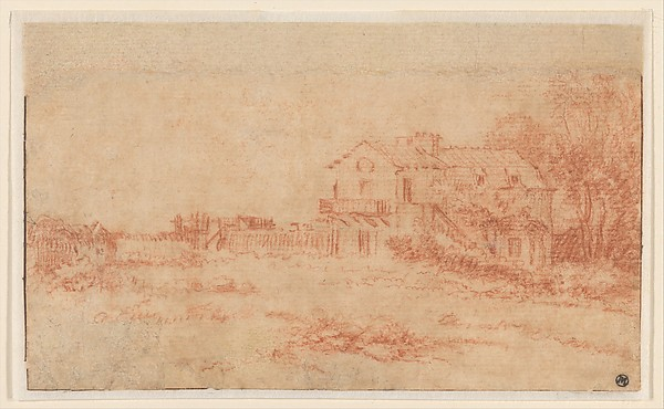 Landscape with a Country House, Antoine Watteau (French, Valenciennes 1684–1721 Nogent-sur-Marne), Red chalk. A strip of paper 1.2 cm. in height has been added at upper margin.