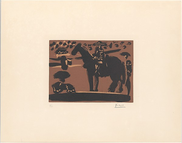Picador Entering the Arena, Pablo Picasso (Spanish, Malaga 1881–1973 Mougins, France), Linoleum cut