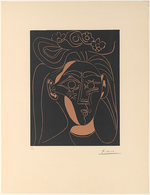 Jacqueline with a Flowered Hat I, Pablo Picasso (Spanish, Malaga 1881–1973 Mougins, France), Linoleum cut