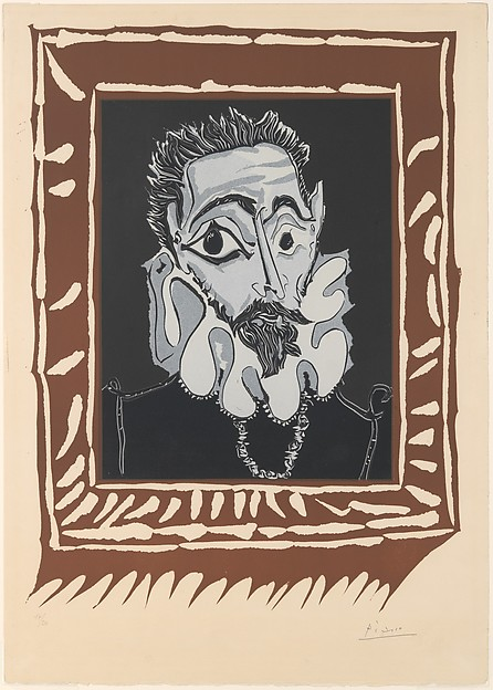Man with a Ruff, Pablo Picasso (Spanish, Malaga 1881–1973 Mougins, France), Linoleum cut