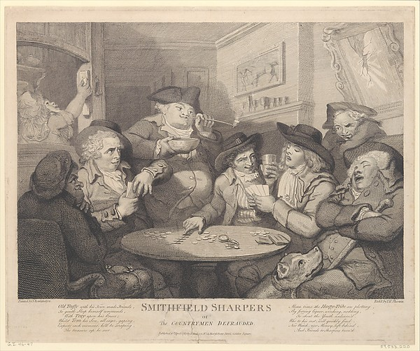 Smithfield Sharpers, or the Countryman Defrauded, John Keyse Sherwin (British, East Dean, Sussex 1751–1790 London), Etching