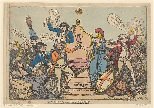 A Touch on the Times, Thomas Rowlandson (British, London 1757–1827 London), Hand-colored etching