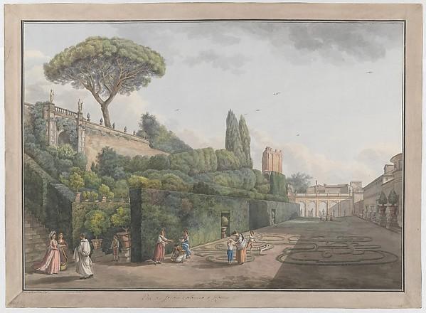 Garden of Palazzo Colonna, Giovanni Volpato (Italian, Bassano 1732–1803 Rome), Etching, with watercolor and gouache