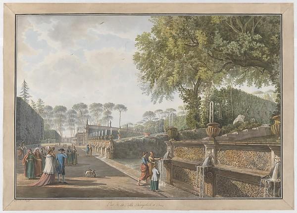 Villa Pamphili, Giovanni Volpato (Italian, Bassano 1732–1803 Rome), Etching, with watercolor and gouache