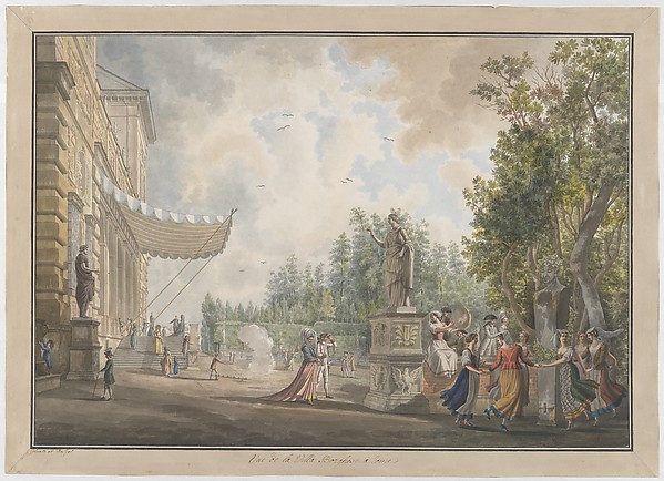 Villa Borghese, Giovanni Volpato (Italian, Bassano 1732–1803 Rome), Etching, with watercolor and gouache
