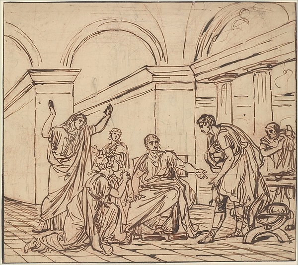 The Clemency of Augustus (Corneille, Cinna, V, 3), François André Vincent (French, Paris 1746–1816 Paris), Pen and brown ink over red chalk, with traces of black chalk