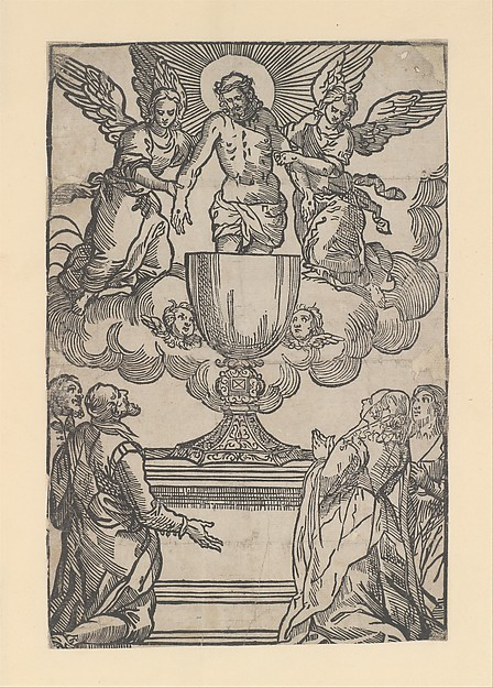 The Triumph of the Eucharist, Christ as the Man of Sorrows supported by two angels standing in a chalice, Anonymous, Italian, 16th century, Woodcut