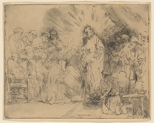 Christ Appearing to the Apostles, Rembrandt (Rembrandt van Rijn) (Dutch, Leiden 1606–1669 Amsterdam), Etching and drypoint, very light plate tone