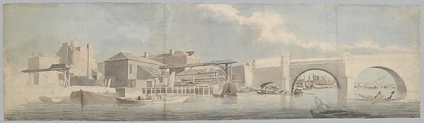 Westminster Bridge, the Surrey Side, Samuel Scott (British, London ca. 1702–1772 Bath), Watercolor and black chalk, with touches of pen and ink