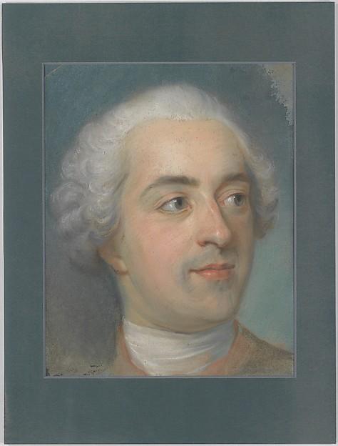 Préparation for a Portrait of Louis XV (1710-1774), Maurice Quentin de La Tour (French, Saint-Quentin 1704–1788 Saint-Quentin), Pastel on blue paper, arched top