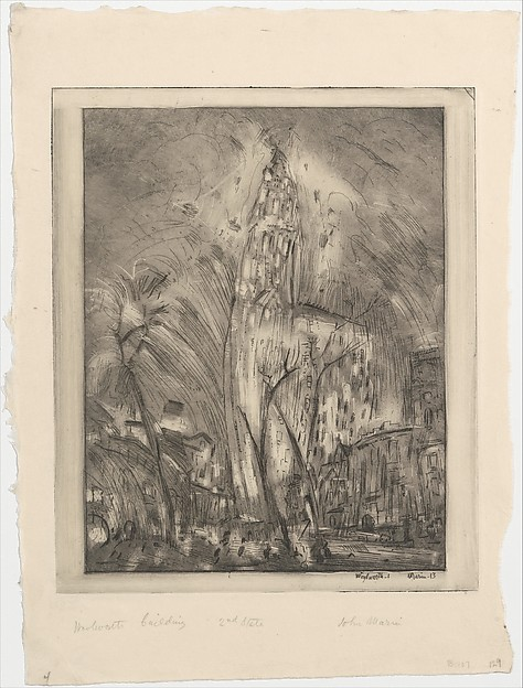 Woolworth Building, No. 1, John Marin (American, Rutherford, New Jersey 1870–1953 Cape Split, Maine), Etching with monotype printing; second state of two