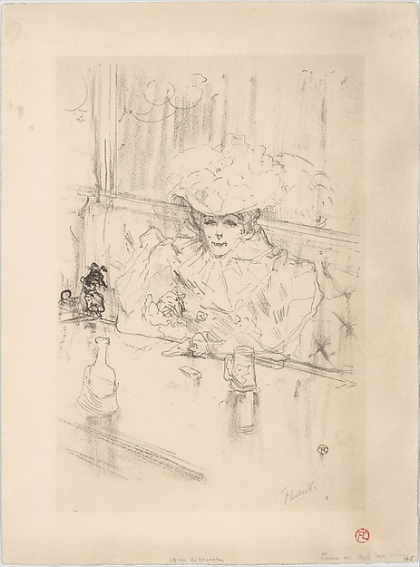 At the Brasserie Hanneton, Henri de Toulouse-Lautrec (French, Albi 1864–1901 Saint-André-du-Bois), Crayon lithograph printed in brown-black on wove paper