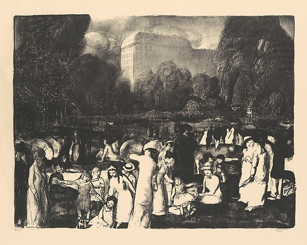In the Park, Light, George Bellows (American, Columbus, Ohio 1882–1925 New York), Lithograph