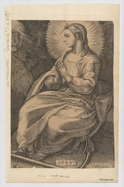 Spes (copy), Anonymous, Dutch, 17th century, Engraving