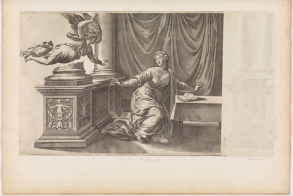 The Annunciation with Flying Angel, Engraved by Enea Vico (Italian, Parma 1523–1567 Ferrara), Engraving