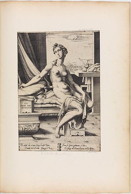 Lucretia Preparing to Kill Herself, Engraved by Enea Vico (Italian, Parma 1523–1567 Ferrara), Engraving, 1st state (before address of Salamanca)