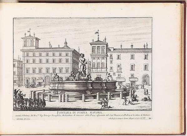 Fontana in Piazza Navona [Fontana del Moro]. From 'La Fontane di Roma nelle Piazze e Luoghi Publici (...)'., Giovanni Battista Falda (Italian, Valduggia 1643–1678 Rome), Etching