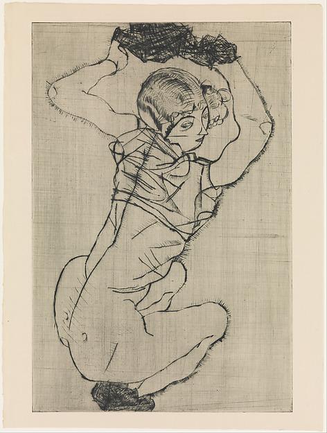 Squatting Woman, Egon Schiele (Austrian, Tulln 1890–1918 Vienna), Drypoint