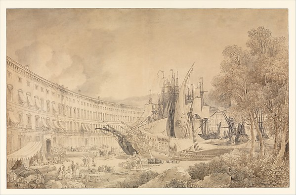 View of Messina Harbor, Louis François Cassas (French, Azay-le-Ferron 1756–1827 Versailles), Pen and black and brown ink, brush and brown and gray wash, over traces of black chalk underdrawing, framing lines in pen and black ink.