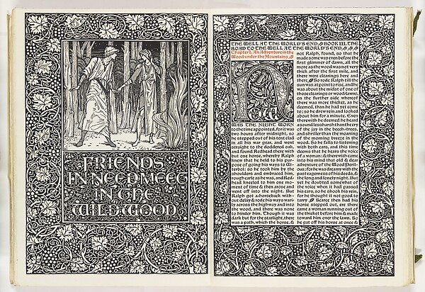 The Well at the World's End, William Morris (British, Walthamstow, London 1834–1896 Hammersmith, London), Illustrations: woodcuts; one of eight vellum bound copies