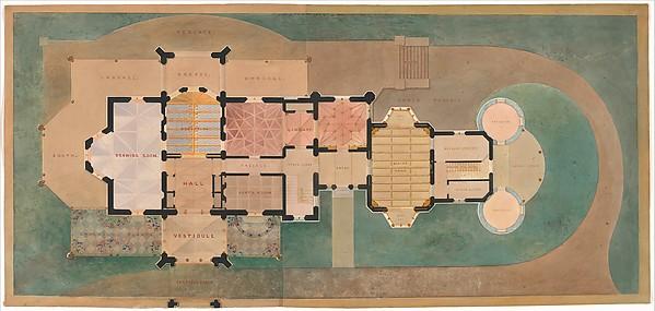 Lyndhurst for George Merritt, Tarrytown, New York (first floor plan), Alexander Jackson Davis (American, New York 1803–1892 West Orange, New Jersey), Watercolor, ink, and graphite on paper