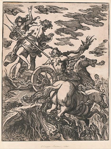 Rape of Persephone with Pluto on horseback at right, Giuseppe Scolari (Italian, active Venice, 1562–1607), Woodcut