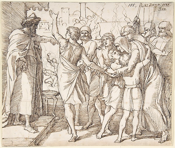 The Martyrdom of the seven brothers; verso: Sketch of two men wrestling (?), Julius Schnorr von Carolsfeld (German, Leipzig 1794–1872 Dresden), Pen and brown ink, over a sketch in graphite; verso: graphite