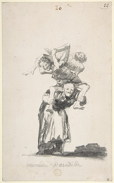 'Nightmare'; an old woman carrying figures on her back; folio 20 from the Witches and Old Women  Album 'D', Goya (Francisco de Goya y Lucientes) (Spanish, Fuendetodos 1746–1828 Bordeaux), Brush, black ink, and wash on Netherlandish laid paper