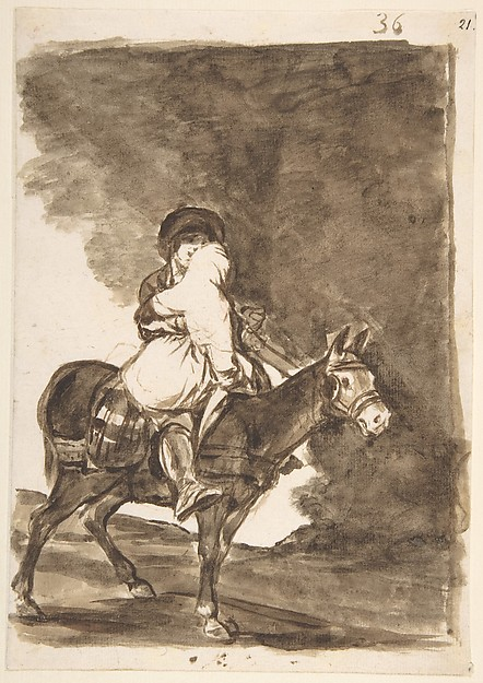 A man and a woman riding a mule; folio 36 from the Images of Spain Album 'F', Goya (Francisco de Goya y Lucientes) (Spanish, Fuendetodos 1746–1828 Bordeaux), Brush and brown wash on laid paper