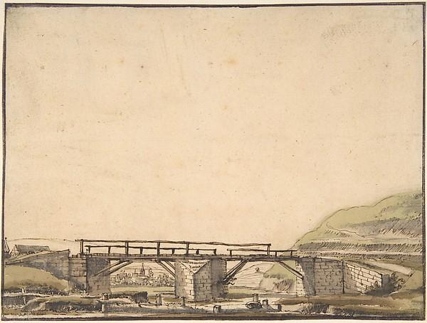 Landscape with Bridge, Anthonie van Borssom (Dutch, Amsterdam 1630/31–1677 Amsterdam), Pen and brown ink, pale green and brown wash. Framing line in pen and brown ink.