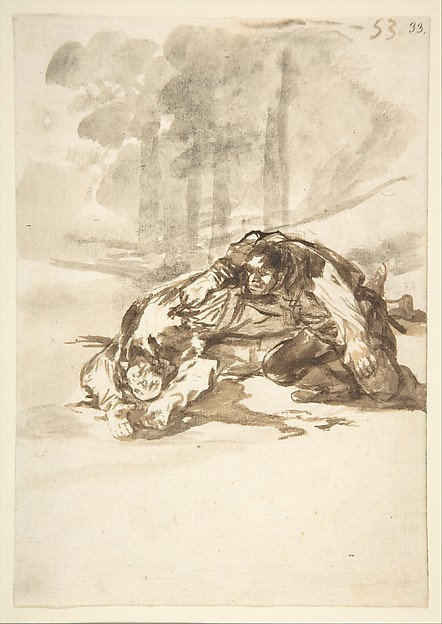 A man stabbing another; folio 53 from the Images of Spain Album 'F', Goya (Francisco de Goya y Lucientes) (Spanish, Fuendetodos 1746–1828 Bordeaux), Brush and gray and brown washes on laid paper